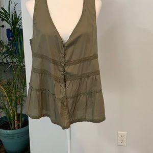 DECREE XL Olive green, button vest, beautiful